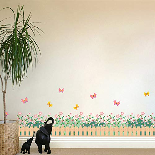Preisvergleich Produktbild ZXFMT Wandaufkleber Gartenzaun Blume Schmetterling Wandaufkleber Kinderzimmer Fenster 3D Effect Wohnkultur Wohnzimmer Schlafzimmer Wandtattoo Kunst
