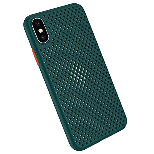 Funda Compatible con Silicone Case para iPhone X, Carcasa de Silicona Suave Antichoque Bumper Anti-Sobrecalentamiento Case para iPhone XS, Verde oscuro