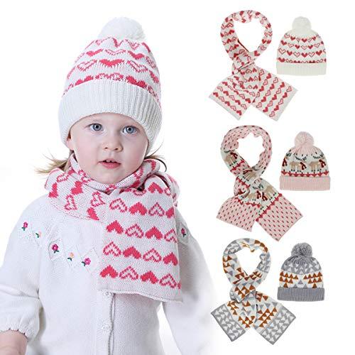 Haokaini Conjunto de Bufanda de Gorro de Punto para Bebé Gorro de Ganchillo de Patrón Lindo para Niños de 1-4 Años