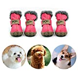 CMNNQ Snow Small Dog Boots, Pet Antiskid Dog Shoes, Winter Waterproof Skidproof Paw Protectors, Warm Booties for Puppy Play (L, Pink)