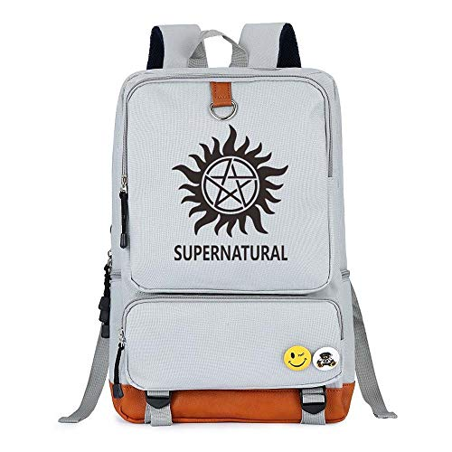 Supernatural Backpack Demon Hunter Winchester Bros Sam Dean Backpack Book Bag Children School Bags for Teenagers Backpacks (White)