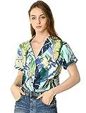 Allegra K Women's Hawaiian Shirts Leaves Printed Short Sleeve Tropical Button Down Shirt Medium Blue