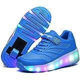WANGT Roller Chaussures De Skateboard,Clignotante Chaussures à roulettes,Lumineuses LED Single...
