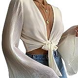EveryLu Las mujeres de manga larga blusa sexy cuello en V atar la parte superior corta casual color sólido mangas acampanadas Cardigan, blanco, L