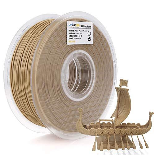 AMOLEN Filamento PLA 1.75mm, Filamento Legno, Filamento Stampante 3D Light Wood Compreso il 20% di Fibra di Vero Legno, 1KG