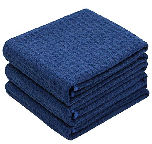VeraSong Waffle Weave Kitchen Towels Thick Microfiber Dish Drying Towels Absorbent Tea Towels Hand Towel Lint Free 16Inch x 24Inch 3 Pack (Navy Blue)