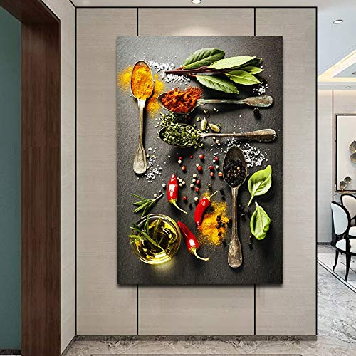 N / A Pintura sin Marco Cuchara de Especias y Polvo de Pimienta Cartel y Pin Pintura de Lona Impermeable Decoración de Cocina de Restaurante ZGQ8618 30x45cm