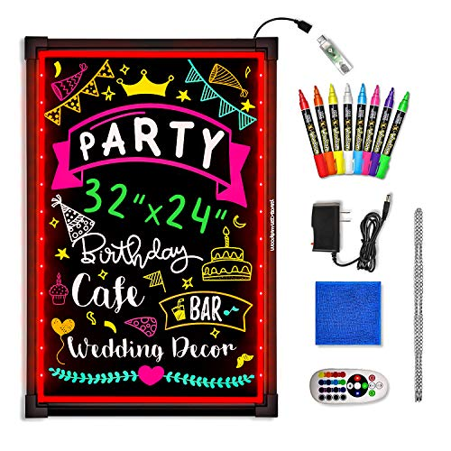 Woodsam LED Message Writing Board - 32'x24' Flashing Illuminated Erasable Neon Sign with 8 Fluorescent Chalk Markers - Perfect for Shop/Cafe/Bar/Menu/Wedding/Decoration School