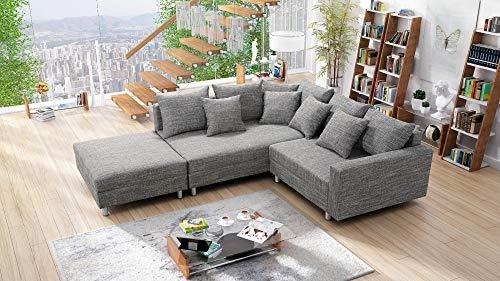 Sofa Couch Ecksofa Eckcouch Stoff hellgrau mit Hocker Bild 4*