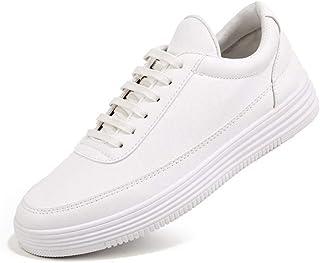 Sneakers Uomo Scarpe Casual in Morbida Pelle Liscia Moda Piatto Nero Bianco Scarpe Casual da Passeggio in Tinta Unita