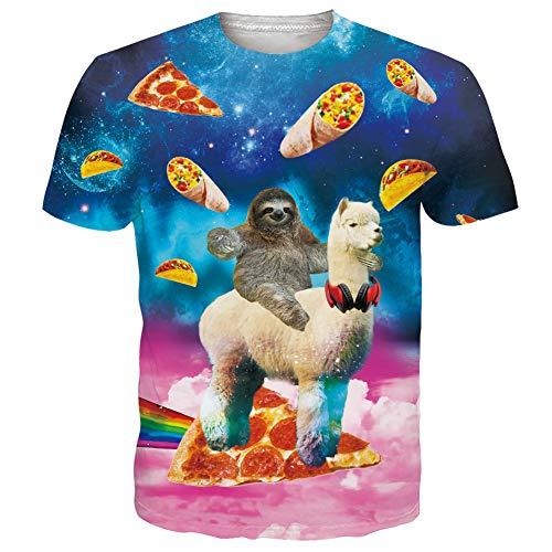 RAISEVERN Kurzarm Coole Pizzas Taco Sloth Alpaka Bedrucktes T-Shirt Personalisiertes T-Shirt mit Rundhalsausschnitt Tops für Herren Damen Medium