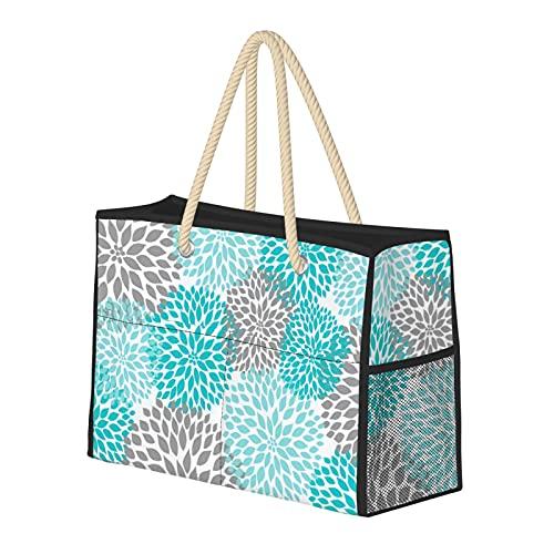 Bolsas de playa para mujer, color turquesa, gris turquesa, estampado floral, grande, bolsa de viaje, bolsa de viaje, bolsa de semana, bolsa de hombro, para playa, viajes, gimnasio, etc