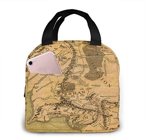 El Señor de los Anillos - Bolsa de almuerzo con mapa,bolsa más fresca para mujer,bolsa de asas con aislamiento,lonchera térmica resistente al agua