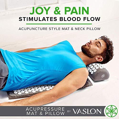 VASLON Massager Cushion Acupressure Mat Relieve Stress Pain Acupuncture Massage Pillow Spike Yoga Mat with Pillow (Grey)