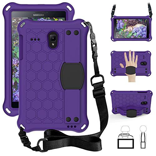 iChicTec Kids Case for Samsung Galaxy Tab A 8.0 T387 T385 T380,Tab E T377 T378,Tab 4 T330 T337,Shockproof Tablet EVA Cover with Shoulder Strap and Hand Strap,8 Inch (Purple)