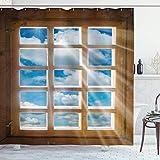Cortina de Ducha rústica, Ventana de Madera con Sol Radiante, Vista panorámica del Cielo y Estampado de Paisaje de Nubes, Juego de decoración de baño de Tela con Ganchos, marrón Claro, Azul, Blanco