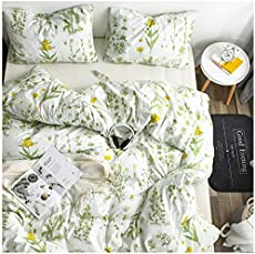YZZ COLLECTION Kids Twin Bedding Duvet Cover Set,Premium Microfiber,Botanical Pattern On Comforter Cover-3pcs:1x Duvet Cover 2X Pillowcases,Comforter Cover with Zipper Closure