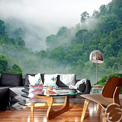 Fotobehang van natuur-mist 3D bosbehang voor woonkamer-sofa-achtergrond natuurlijke plantenvezel vliesbehang 300*210 300 x 210 cm.