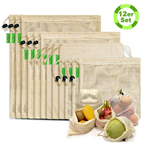 Reusable Produce Bags - Durable Organic Cotton Mesh Produce Bags ECO-Friendly Grocery Bags with Tare weight 4 Sizes 12 Packs Lightweight Machine Washable Vegetable Bags with Organizing Drawstring
