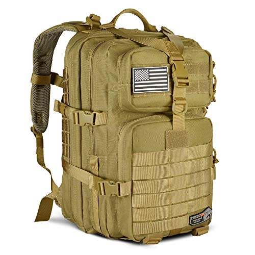 RuiXia Tactical Backpack Military ISO Standard for Hunting Hiking Travel & Camping | Heavy Duty Nylon Stitching Water Resistant Small Rucksack with Hydration Bladder Compartment