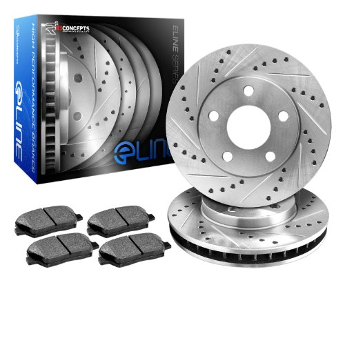 R1 Concepts Eline Series Cross-Drilled Rotors And Ceramic Pads Kit