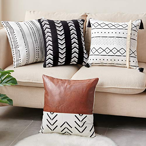 CDWERD Throw Pillow Covers 18x18 Inch Set of 4 Boho Modern Farmhouse Neutral Decorative Pillowcases Faux Leather and Cotton Cushion Case for Couch, Bed, Home Decor