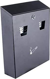 Wall-Mounted Cigarette Receptacle - Disposal Station Tower - Commercial Ashtray - Black