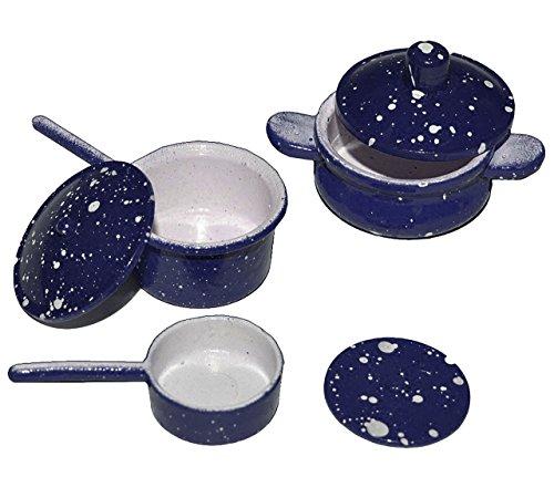 alles-meine.de GmbH 6 TLG. Topfset - Miniatur - Topf Tiegel Pfanne mit Deckel - aus Guß / Metall - Maßstab 1:12 - für Puppenstube - dunkelblau - Kochtöpfe Puppenhaus Puppenküche ..