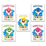 Baby Shark Art Prints, Set of 5 (8 inches x 10 inches), Nursery Wall Art Stuff Decor, Wall Poster for Baby Shower Decorations, Baby Bedroom, Kids Playroom, Mommy Daddy Grandma Grandpa (UNFRAMED)