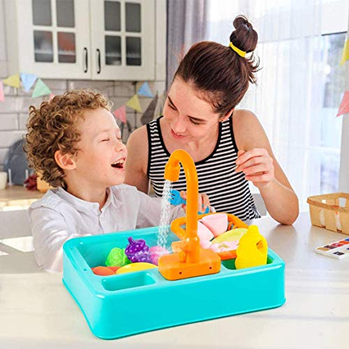 NIWWIN Kids Toddler Kitchen Sink Toys Set with Running Water Educational Gifts Pretend Play Kitchens for Boys Girls Simulation Electric Dishwasher Working Faucet & Drain Gifts (Green)