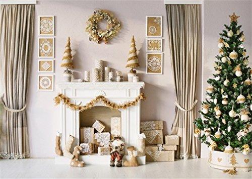 YongFoto 5x3ft fotografie achtergrond kerstboom geschenken open haard slinger sokken gordijn interieur foto achtergrond fotografie videopartij pasgeboren kinderen baby portret foto studio rekwisieten