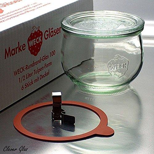 6 Weck Einkochgläser 500ml Tulpenform RR100 mit Glasdeckel, Ringen und Klammern im Original Weck Karton