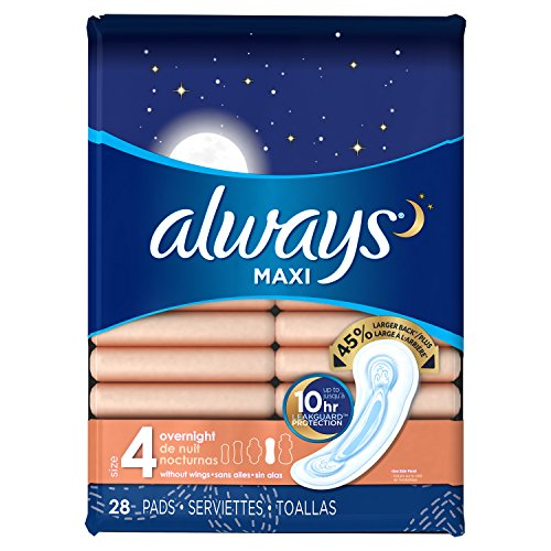 Always Maxi Feminine Pads for Women, Size 4, Overnight Absorbency, Unscented, 28 Count