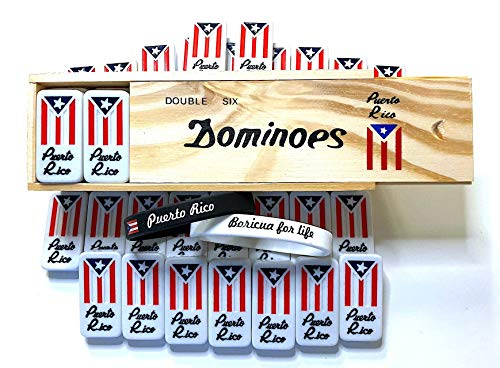PUERTO RICO Flag dominoes,Puerto rico,dominoes double six,Puerto rico classic style, dominoes