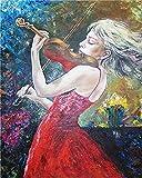 Pintura por números Kit de pintura a mano de violín para niña Lienzo Decoración de sala de estar mod...