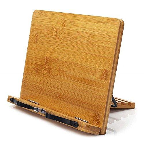 DUBENS Bambus Kochbuchhalter Leseständer, faltbar Buchstütze Stand mit Einstellbarem Rücken für Kochbuch, Lehrbuch Magazin Kochbuch Rezept Lesepult Notenständer, 28 x 20cm (B)