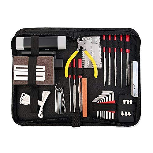 ROSNEK Komplettes Gitarren-Zubehör-Reparatur- und Wartungsset, 33-teiliges Werkzeug-Set für Gitarre, Ukulele und Bass, Gitarren-Kit mit Koffer