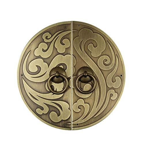 Aldaba antiguo, Tiradores de muebles Perilla clásica Manija de bronce antiguo Xiangyun Manija de la puerta del armario Placa frontal del gabinete-BronceULa aguja-18Cm