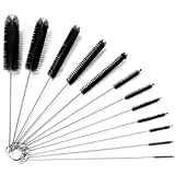 Kiemeu Small Pipe Cleaning Brushes for Small Spaces,Small Brush for Cleaning Reusable Straw Cleaner Brush,Small Pipe Cleaner Brush,Small Cleaning Brush Set,Black