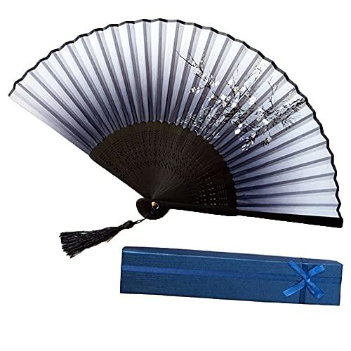 YTATY Abanico Plegable con Borla, Abanicos Retro Bambú Abanicos Estilo Japonés Ondas Pintadas Ventilador de Mano Plegable Ventilador Plegable (Ventilador Plegable 2)