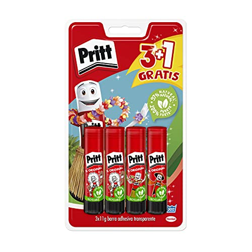 Pritt Barra Adhesiva, pegamento infantil seguro para niños para manualidades, cola universal de adhesión fuerte para estuche escolar y oficina, 3+1 x 11 g Pritt Stick