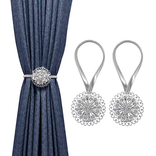 MoKo 2 Pack Crystal Flower Magnetic Curtain Tiebacks, Window Curtain Decorative, No Drilling Drapery Holdbacks Flower Curtain Buckle with Bind Stainless Spring Wire for Home Office Decor - Silver