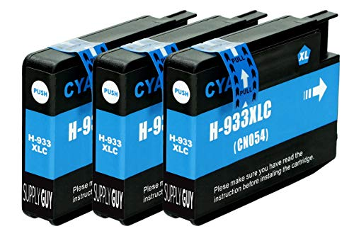 3 Cartuchos de Tinta Compatible con HP 933 933XL Cian para HP OfficeJet 6100 6600 6700 7110 7510 7600 7610 7612