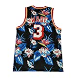 CHSC Camiseta de Baloncesto Heat # 3 Dwyane Wade, Camiseta sin Mangas Fan Vest, Fashion Flowers Version Boutique Embroidery Jersey para Boys-A_L—Regalo Deportivo