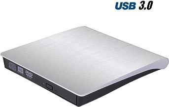 Padarsey External DVD CD Drive for Laptop USB 3.0 External DVD-RW Player CD Drive, Optical Burner Writer Rewriter for Mac Computer Notebook Desktop PC Windows 7/8/10, Slim White