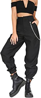 Women Cargo Pants Slacks Casual Harem Baggy Hip Hop Dance Outdoor Jogging Sweatpants Trousers with Chain