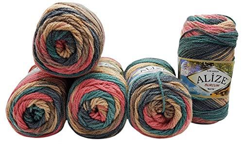 Alize Burcum 7399 - Ovillo de lana batik (5 ovillos de 100...