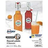 Oferta Avery Etiquetas redondas dissolúveis imprimíveis com Sure Feed, 5 cm de diâmetro, branco, 60 etiquetas personalizáveis (4227) por R$ 93.88