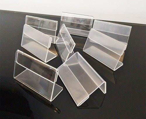 Supporto in acrilico trasparente, a forma di L, dimensione 7x 4cm, per esporre biglietti, targhette, piccoli cartelli, set da 30 pezzi