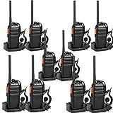 Retevis RT24 Walkie Talkie PMR446 Licenza-Libero Professionali Walkie-Talkie VOX 1100mAh Squelch CTCSS/DCS Criptato Lunga Distanza Facile da Usare Walkie Talkie con 10 Auricolare (Nero,5 Coppia)